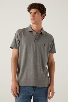 Springfield Slim fit spandex polo shirt grey
