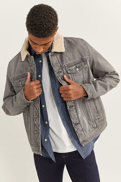 Springfield GREY DENIM JACKET WITH SHEEPSKIN. gray