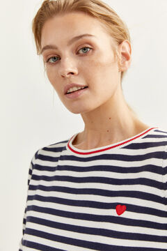 Springfield Two-material Striped Jumper  blue