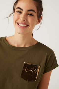 Springfield Sequin pocket T-shirt dark green