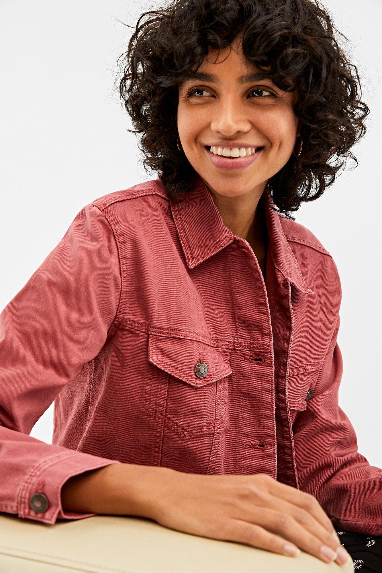 Organic cotton coloured denim jacket   Jackets   Springfield Man & Woman