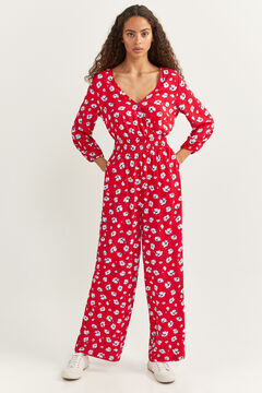 Springfield Long printed jumpsuit red