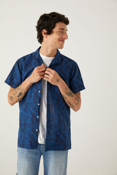 Springfield Camisa manga corta lino estampada navy mezcla