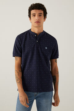 Springfield All-over print slim fit mandarin collar polo shirt navy mix