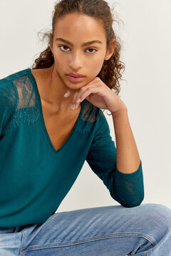Springfield Two-material Lace Shoulders T-shirt green water