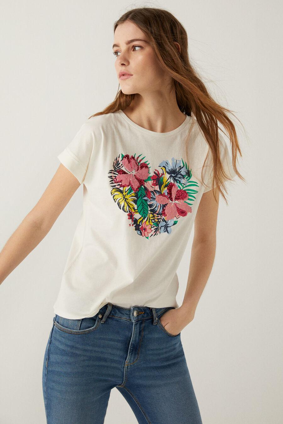 T-shirt graphique fleurs tropicales