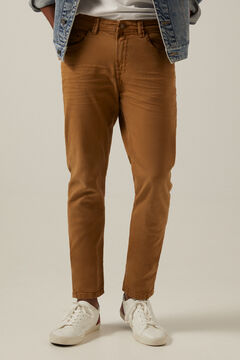 Springfield Slim fit washed 5-pocket coloured trousers beige
