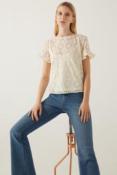 Springfield Flounced crochet sleeves T-shirt grey
