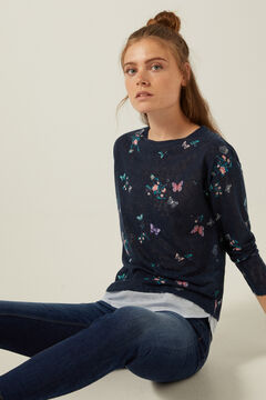 Springfield T-shirt bimatière imprimé bleu indigo