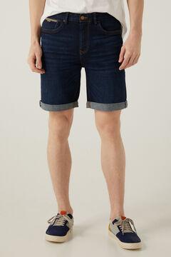 Springfield Slim fit dark wash denim Bermuda shorts blue