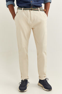 Springfield GARMENT-DYED BELTED CHINOS natural