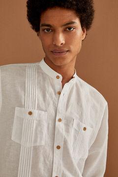 Springfield Linen mandarin shirt white