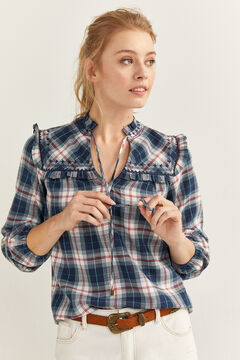 Springfield Checked Flounced Blouse blue