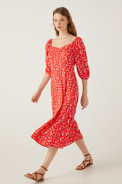 Springfield Paisley midi dress red