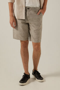 Springfield Two-tone rustic linen Bermuda shorts tan