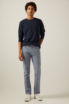 Springfield Slim fit washed 5-pocket coloured trousers steel blue