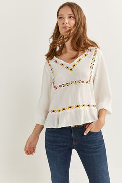 Springfield Ethnic embroidery shirt ecru