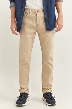 Springfield SKINNY FIT WASHED 5-POCKET COLOURED TROUSERS camel