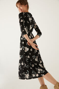 Springfield Flounced neckline midi dress black