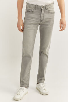 Springfield GREY LIGHT WASH SLIM FIT JEANS light gray