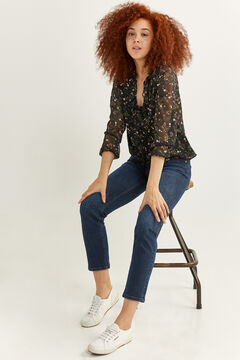 Springfield Printed buttoned blouse black