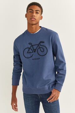 Springfield BIKE CREW NECK SWEATSHIRT indigo blue