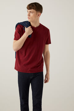 Springfield TEXTURED SHORT-SLEEVED T-SHIRT deep red