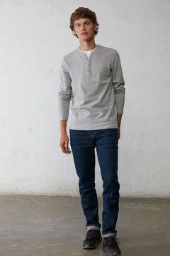 Springfield Long-sleeved piqué T-shirt gray