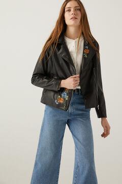 Springfield Floral embroidery biker jacket black