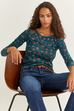 Springfield Printed Lace Shoulders T-shirt green