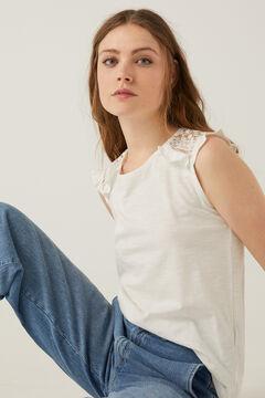 Springfield T-shirt épaules crochet blanc