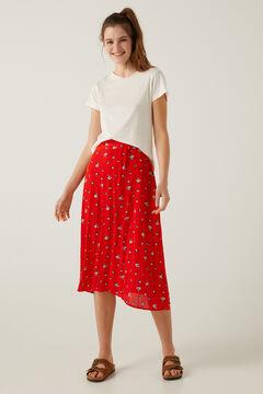 Springfield Printed pleated skirt brick