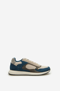 Springfield Retro leather and fabric trainer bluish