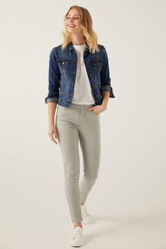 Springfield Slim Cropped Eco Dye Trousers grey