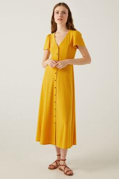 Springfield Vestido midi botones bordado suizo golden
