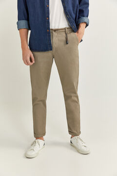 Springfield MICRO PRINT CHINOS WITH KEY RING brown