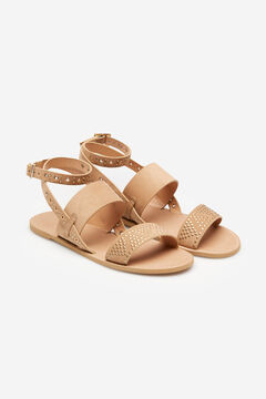 Springfield Flat sandals with metal studs camel