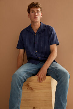 Springfield Striped short-sleeved bowling shirt bluish