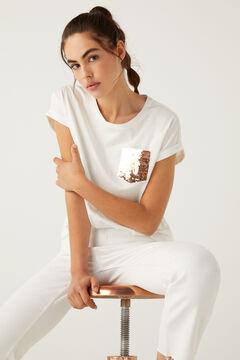 Springfield Sequin pocket T-shirt medium beige
