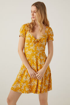 Springfield Short knot neckline dress golden