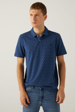Springfield Slim fit polo shirt with all-over print blue