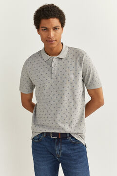 Springfield ESSENTIAL SLIM FIT ALL-OVER POLO SHIRT grey