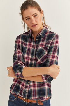 Springfield Checked Lurex Blouse blue mix