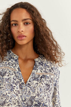 Springfield Printed Lace Blouse indigo blue