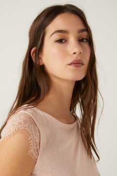 Springfield Linen effect lace sleeves t-shirt pink