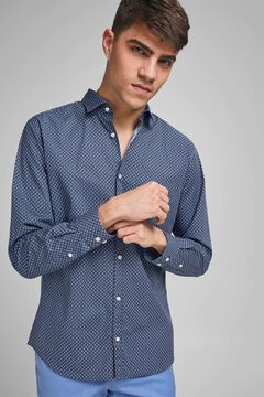 Springfield Slim fit stretch long-sleeved shirt navy