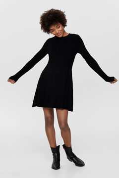 Springfield Long-sleeved round neck jersey-knit dress black
