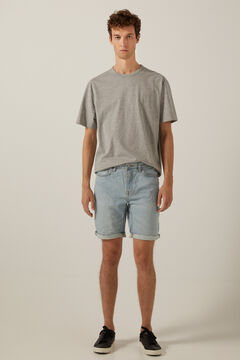 Springfield Essential medium-light wash denim Bermuda shorts royal blue