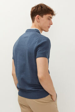Springfield Cotton/linen textured polo shirt blue