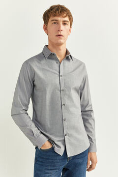 Springfield PINPOINT SLIM FIT SHIRT grey